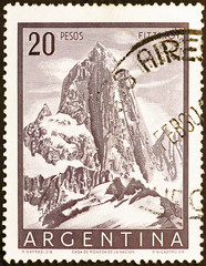 Mount Fitz Roy on old argentine postage stamp