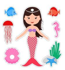 Set of cute mermaid and marine life. Cartoon mermaid on a white background. Vector illustration