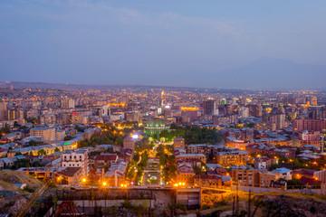 Printed kitchen splashbacks Barcelona Yerevan at night