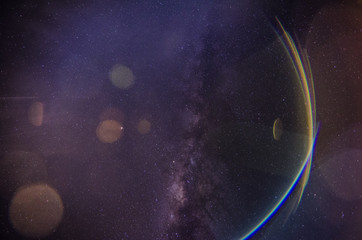 milky ways and lens flear effect