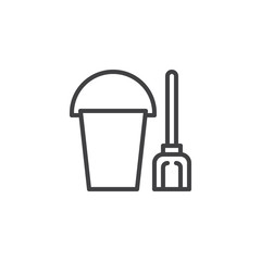 Sand Bucket With Shovel Outline Icon Linear Style Sign For Mobile Concept And Web Design