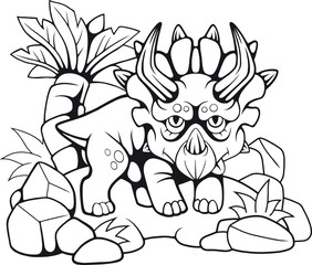 cartoon cute prehistoric triceratops, funny illustration