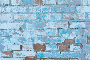 Blue white brick wall background