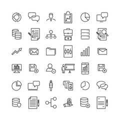 Simple set of leadership related outline icons.