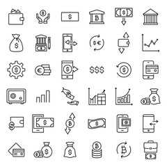 Set of investments thin line icons.