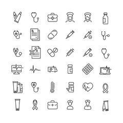 Modern outline style health icons collection.