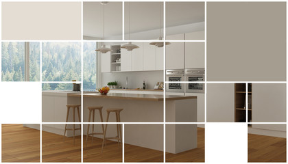 Geometric square mosaic graphic effect with copy space for text, presentation template, modern kitchen, concept interior design
