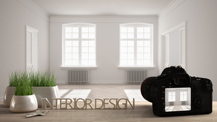 Architect photographer designer desktop concept, camera on wooden work desk with screen showing interior design project, blurred scene in the background, modern empty space idea template