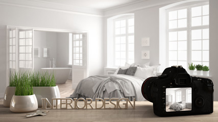 Architect photographer designer desktop concept, camera on wooden work desk with screen showing interior design project, blurred scene in the background, classic bedroom idea template