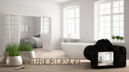 Architect photographer designer desktop concept, camera on wooden work desk with screen showing interior design project, blurred scene in the background, scandinavian bathroom idea template