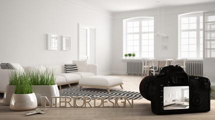 Architect photographer designer desktop concept, camera on wooden work desk with screen showing interior design project, blurred scene in the background, scandinavian living room idea template