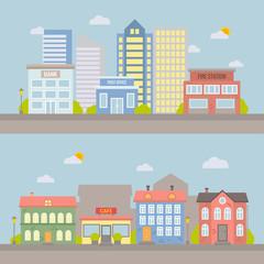 Vector flat city landscape for design and illustration