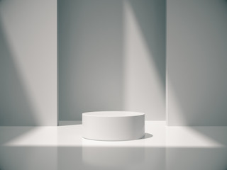 White pedestal for display,Platform for design,Blank product,White room and lateral lights.3D rendering.