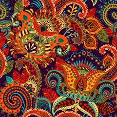 Colorful seamless Paisley pattern. Decorative indian ornament. Floral wallpaper