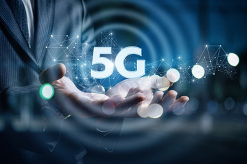 In the hands of a businessman 5g .