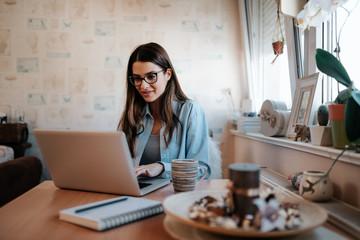 Brunette girl using laptop at home.