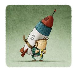Business man holding jet pack rocket. concept of entrepreneur ship