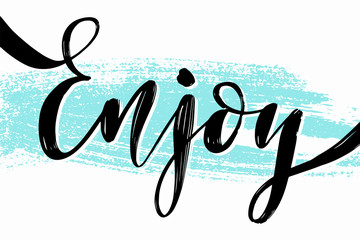 Hand drawn summer lettering. Travel and vacation calligraphy inscription. Vector illustration.