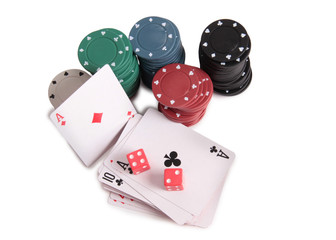 Cards and chips for casino with on white background