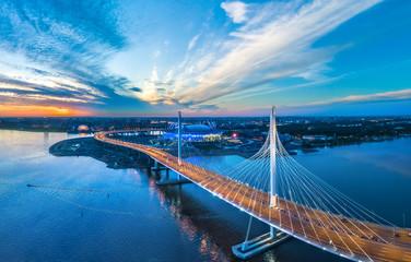 Panorama of Petersburg. Highway. Bridges of Petersburg. Aerial view of St. Petersburg. Panorama of Russian cities. Krestovsky Island.
