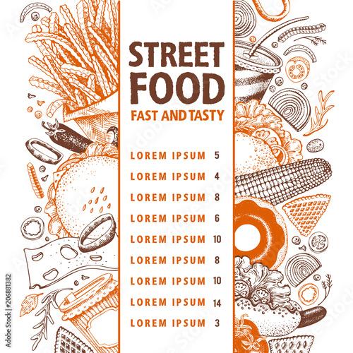 Fast Food Hand Drawn Vector Illustration Street Food Banner Design