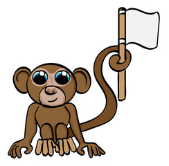 Cartoon Monkey holding a flag