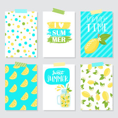 Vector set of bright summer cards
