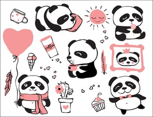 Panda doodle kid set. Simple design of cute pandas perfect for kid's card, banners, stickers and other kid's things.