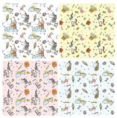 Set of four magic unicorn pattern seamless