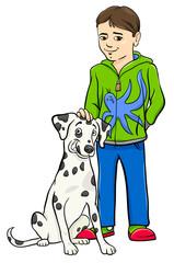 Keuken foto achterwand Honden boy with dalamtian dog cartoon illustration