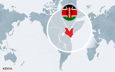 World map centered on America with magnified Kenya. Wall mural