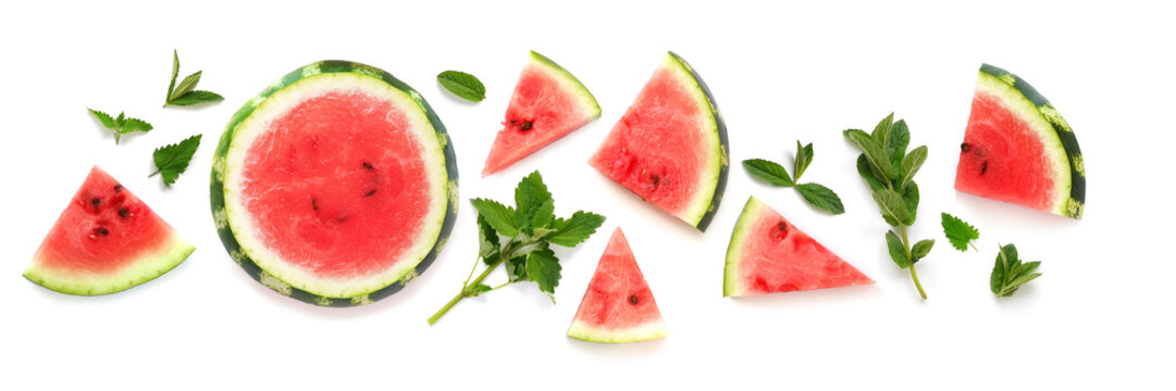 Fresh watermelon, sliced in slices  and mint leaves top view isolated on a white background. Banner with the concept of summer, fresh fruit, refreshing drinks, cocktails, smoothies.