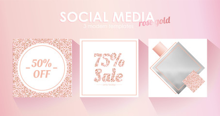 Social media banner template for your blog or business.  Cute pastel rose pink design