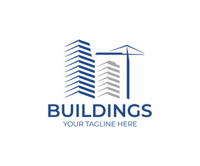 Building construction logo template. Skyscrapers and construction crane vector design.  Real estate construction logotype