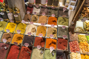 Immense variety of spices  found in the Spice market in Istanbul, Turkey