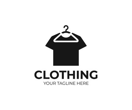 Hanging t-shirt logo template. Hanger and black t shirt vector design. Clothing logotype