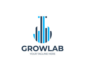 Growth lab logo template. Lab flask and graph vector design. Laboratory analytics logotype