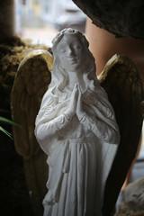 Vintage Antique Praying Angel Statue Indoors