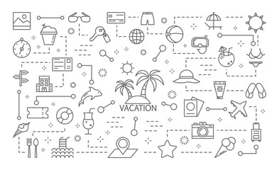 Vacation icons set.