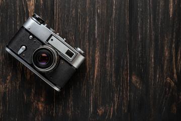 vintage camera on a dark background