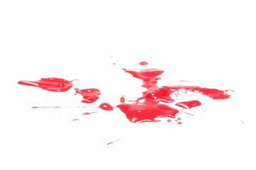 Smeared blood, spatter, dripping isolated on white background, with clipping path, series