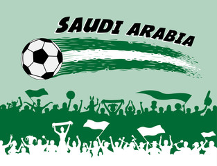 Saudi Arabia flag colors with soccer ball and Arab supporters silhouettes