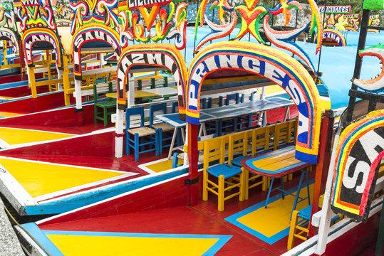 Colorful Boat in Xochimilco, Mexico , called trajinera