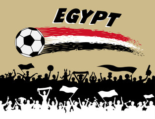Egypt flag colors with soccer ball and Egyptian supporters silhouettes