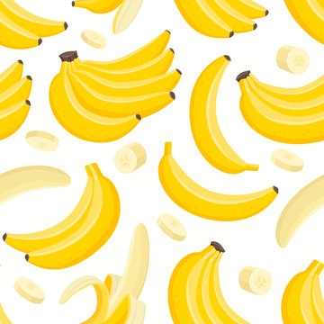 Vector pattern with cartoon banana isolated on white.