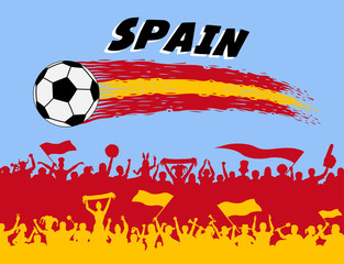 Spain flag colors with soccer ball and Spanish supporters silhouettes