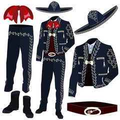 Mariachi musician costume parts vector illustration