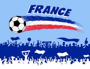 France flag colors with soccer ball and French supporters silhouettes
