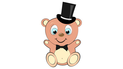 A cute, beautiful, brown bear boy with a big head in a cylinder with a bow tie and blue eyes on a white background and copy space. illustration