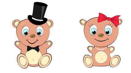 Two cute, beautiful, brown bear girl and boy with big head and blue eyes in a cylinder and bow tie, bow and pearl necklace on white background and copy space.  illustration